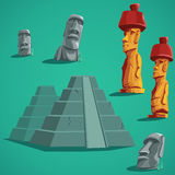 Set  elements of stones, statues, pyramids Stock Photos