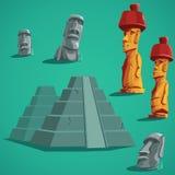 Set  elements of stones, statues, pyramids Stock Photos