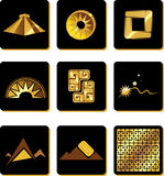 Set of elements in the style of gold of the Incas Stock Photo