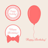 A set of elements with text Happy birthday!. Balloon, round frame, bow. White, pink Royalty Free Stock Images