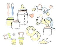 A set of elements for baby feeding, breastfeeding,Bottle with a pacifier, spoon. fork. breast pump, dummy, containers stock illustration
