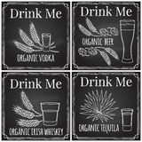 Set elements on the theme of the restaurant business.  Chalk dra Royalty Free Stock Image