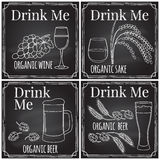 Set elements on the theme of the restaurant business.  Chalk dra Royalty Free Stock Images