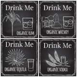 Set elements on the theme of the restaurant business.  Chalk dra Stock Photo