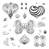 Set of elements for Valentine`s day background to decorate greeting cards contour butterfly, flower, card vector illustration