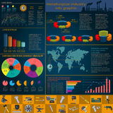 Set of elements and tools of metallurgical industry for creating Stock Photography