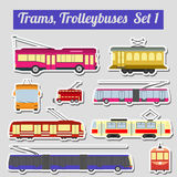 Set of elements trams and trolleybuses for creating your own inf Stock Image