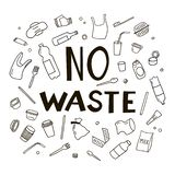 Set of elements of waste in doodle style. Black and white vector clipart royalty free illustration