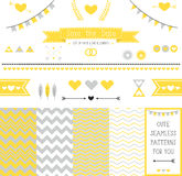 Set of elements for wedding design. save the date. The kit includes ribbons, bows, hearts, arrows and different chevron  patterns Royalty Free Stock Images