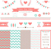 Set of elements for wedding design. save the date. The kit includes ribbons, bows, hearts, arrows and different chevron  patterns Royalty Free Stock Image