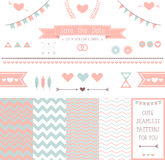Set of elements for wedding design. save the date. The kit includes ribbons, bows, hearts, arrows and different chevron vector patterns Stock Photos