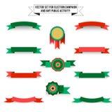 Set of elements on white background, ribbons Royalty Free Stock Photo