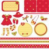 Set elementy dla dziecka scrapbook Zdjęcie Royalty Free