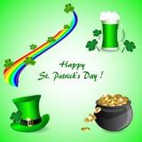 Set elementy dla St Patrick ` s dnia na zielonym tle royalty ilustracja