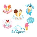 Set elementy, logo I etykietka lody projekta, royalty ilustracja