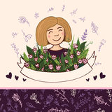 Set elementy z blondynki kobietą z kwiatami i bezszwowym patt Obraz Royalty Free