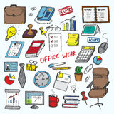 Set of elemets of work in office. Vector illustration Stock Photos