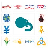 Set of elephant, holy trinity, hallmark, chainsaw, corn stalk, guidestar, japan currency, grim reaper, earth hour icons. Set Of 13 simple editable icons such as Royalty Free Stock Image