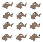 Set of elephants cartoon. Set of various running elephants Stock Photos