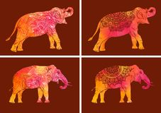 Set of elephants with decorative floral pattern royalty free illustration