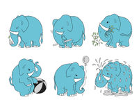 Set elephants for different occupations Royalty Free Stock Photography
