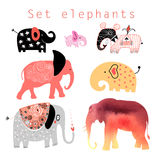 Set of elephants. Graphic interesting set different elephants on a white background vector illustration