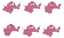 Set of elephants storyboard. Set of ridiculous small various elephants Stock Photography