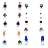Set of the eleven pairs of diamond earrings Royalty Free Stock Photos