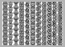 Set of eleven seamless endless decorative lines. Indian Henna Border decoration elements patterns in black and white colors.  Coul Royalty Free Stock Images