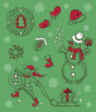 Set with elf, snowman and Christmas objects Royalty Free Stock Photography