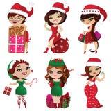 Set elfy i Santa dziewczyny Obrazy Stock