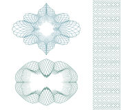 Set: Ellipse Guilloche Pattern Rosette and border for certificate or diploma, isolated. Vector illustration Royalty Free Stock Photos