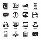 Set of Email, Clipboard, Mobile phone, Laptop, Headphones, Picture, Chat, Projector, Phone book icons. Set Of 16 simple  icons such as Email, Clipboard Stock Images