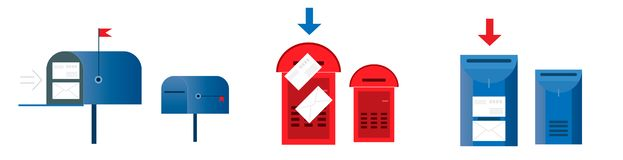 Set email concept. Six mailboxes red and blue color, empty and w stock illustration