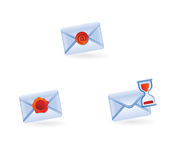 Set of email icons. Email icons isolated on white - vector illustration Royalty Free Stock Images