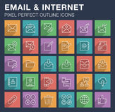 Set of email and internet icons with long shadow. Stock Images