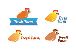 Set of Emblem with Chicken Royalty Free Stock Photo