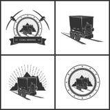 Set of  Emblem Coal Mining Industry Stock Photo