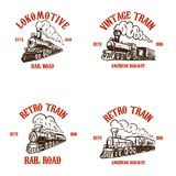 Set of emblem templates with hand drawn retro trains. Design elements for poster, card, t shirt, logo, label, badge. Vector illustration Stock Photos
