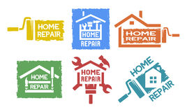 A set of emblem on the topic of home repair Royalty Free Stock Photography