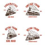 Set emblematów szablony z ręka rysującymi retro pociągami Projektuje elementy dla plakata, karta, t koszula, logo, etykietka, odz ilustracja wektor