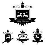 Set emblemat z rogaczami w retro roczniku projektuje Zdjęcie Royalty Free