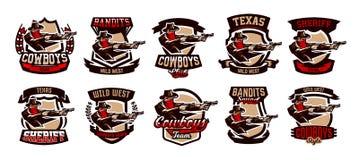 Set emblematy, logowie, kowbojska strzelanina od dwa koltów Dziki zachód, bandyta, Teksas, rabuś, szeryf, przestępca Zdjęcie Stock