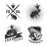 Set emblematy z żaby książe Zdjęcia Stock