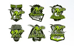 A set of emblems, badges, stickers, logos of dinosaur hunting. Predator Jurassic, a dangerous beast, an extinct animal. A mascot. Lettering, shield, print vector illustration
