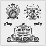 Set of emblems of bikers club. Vintage style. Monochrome design Stock Photography