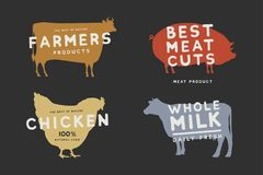 Set of emblems with colored silhouettes of farm animals on dark background. Image on theme of fresh and natural products. Meat and dairy products. Vector royalty free illustration