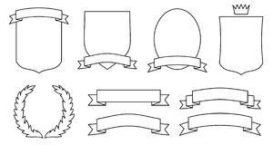 Set of emblems, crests, shields and scrolls. JPG, EPS