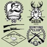 Set of emblems with a deer, hare, pheasant for hunting Royalty Free Stock Images