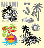 Set of emblems and design elements for templates to summer holiday or tourism Royalty Free Stock Photos
